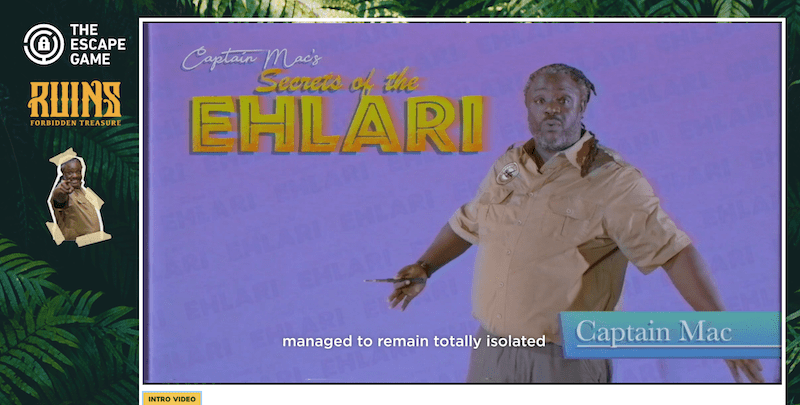 "A video of Captain Mac explaining the ""Secets of the Ehlari."" It's closed captioned, ""...managed to remain totally isolated..."""