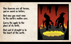 Art of 2 dwarves beside a molten hole. Text explains that the dwarves need to cast the apple into the earth's molten core.""