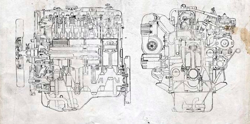 Sketch of a submarine engine.