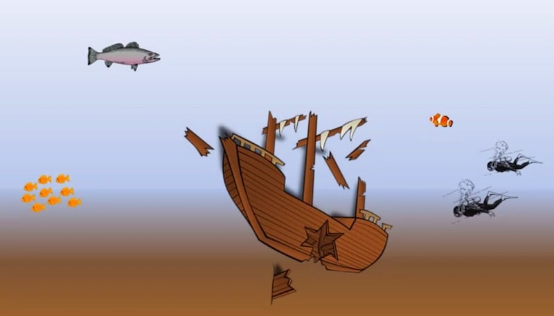 A shipwreck with divers approaching.