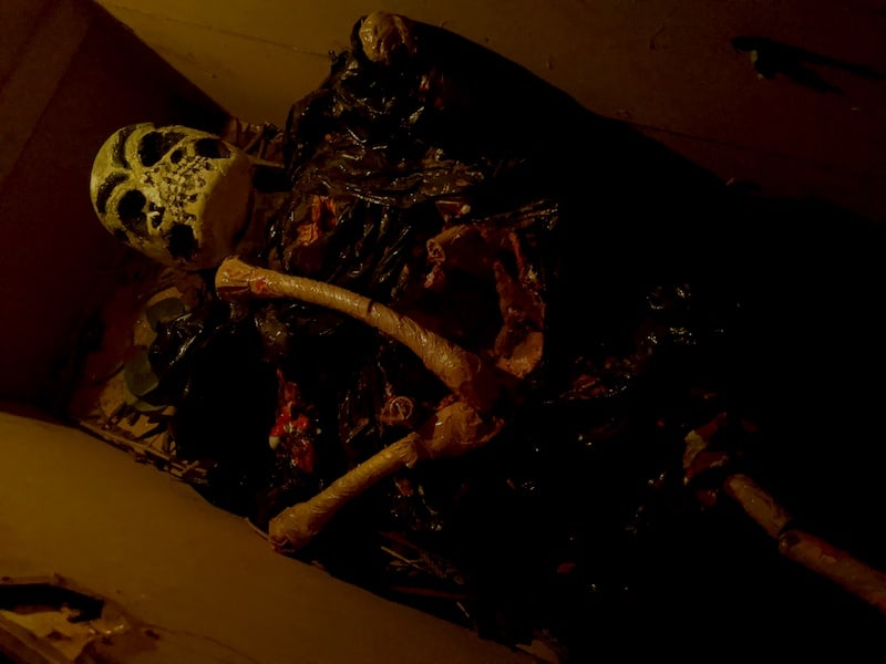 In-game: A decomposing body in a coffin.