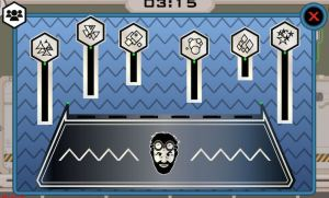 In-game: A series of symbols attached to sticks of varying lengths.