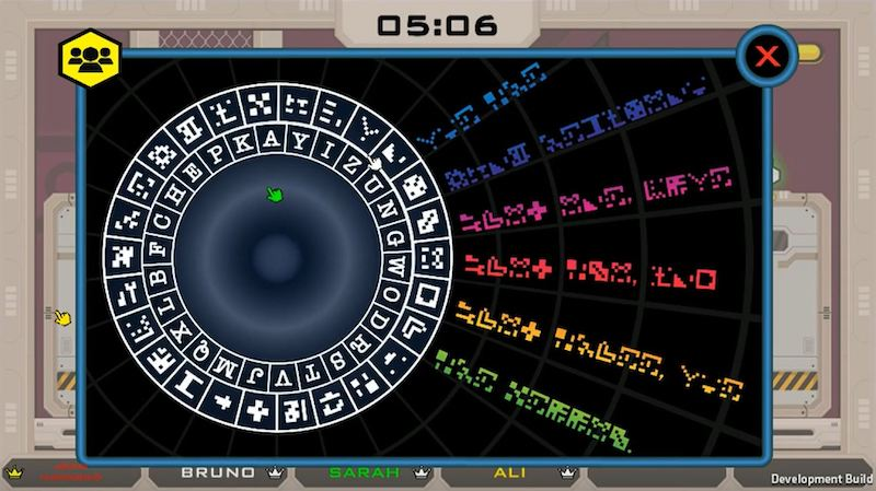 In-game: A cipher wheel beside a series of multi-colored ciphers.