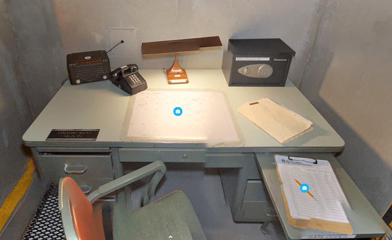 A metal desk in a nuclear bunker.