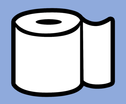 A toilet paper roll icon.