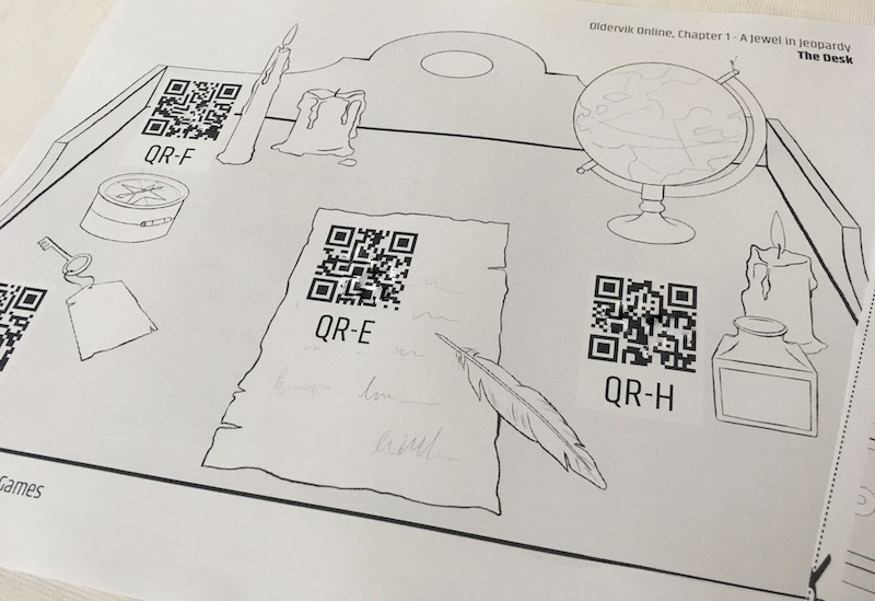 A black & white printed page depicting a decktop labeled with QR codes.
