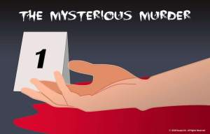 Illustration of a hand in a pool of blood with a #1 evidence card beside it.