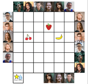 A puzzle grid surrounded by faces of suspects. In the grid are a strawberry, cherries, and a banana.