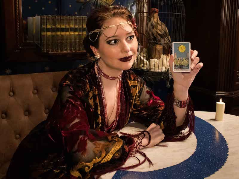 Madame Daphne dressed for an intriguing tarot reading.