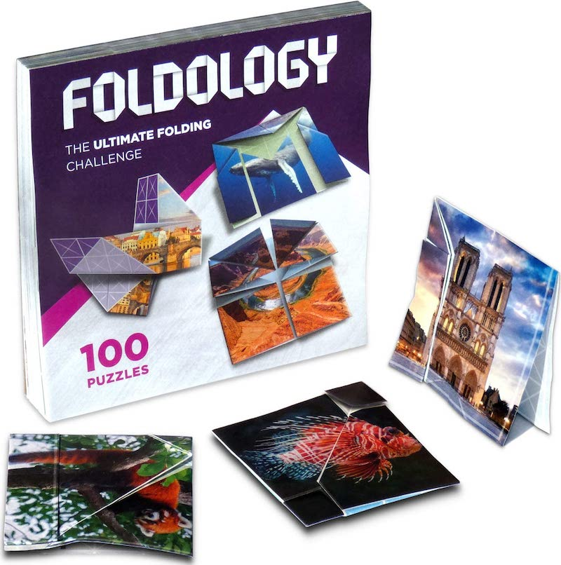 Foldology oigami puzzles in various states of solve.
