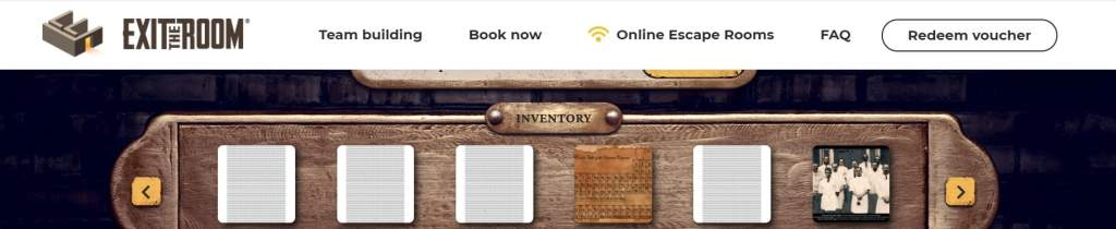 Inventory system embedded in the Exit the Room website.