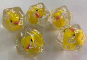 Clear D20 with rubber duckies inside of them.