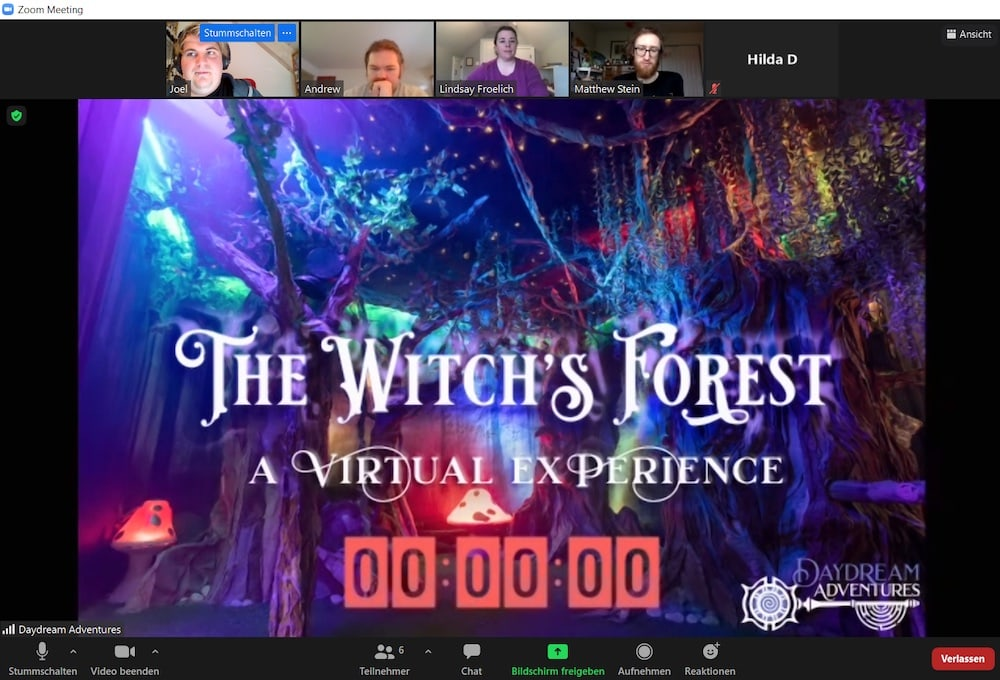 Intro screen for The Witch's Forest, a Virtual Experience. Depicts a colorful magical forest.