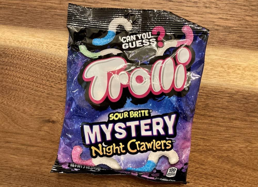 Trolli sour brite mystery flavor night crawlers backaging.