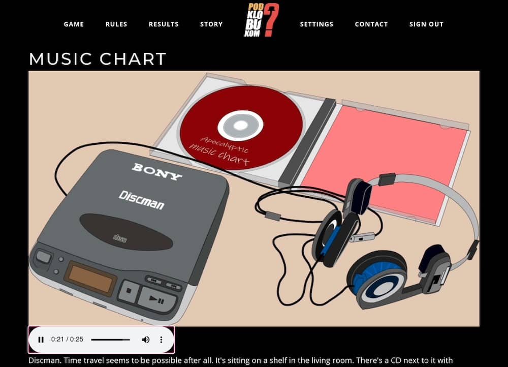 A Bony Discman CD Player, headphones, and a CD.