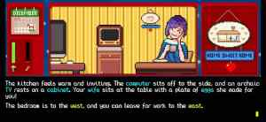 Text adventure: Pixel art kitchen depicts your character's wife and the plate of eggs she made for you.
