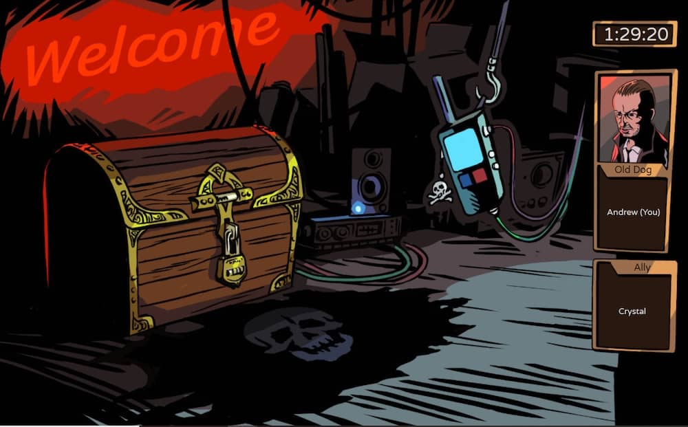 Illustrated point and click interface depicts a locked treasure chest surrounded by modern technology.
