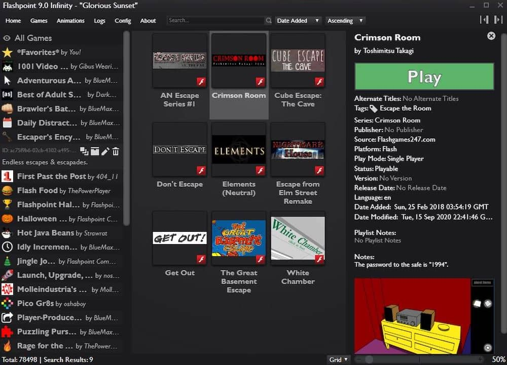 Flashpoint's launcher, loaded with point & click escape rooms.