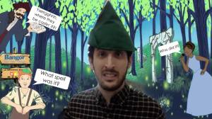 A character in an elf hat, greeting us.