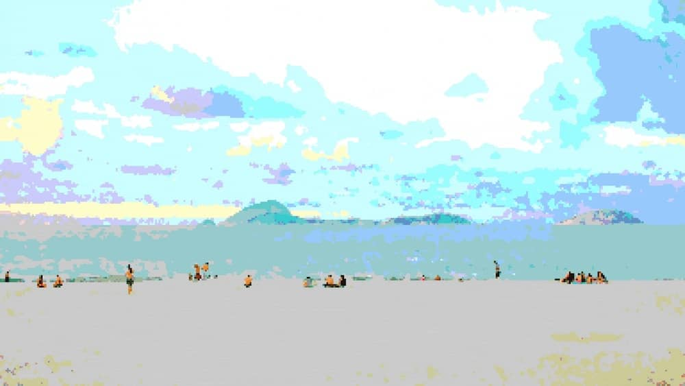 Pixel art of people on a beach.