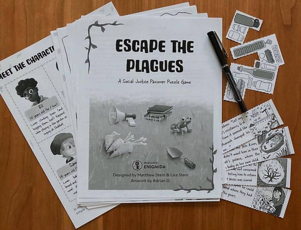 Assorted printed pages form Escape the Plagues.