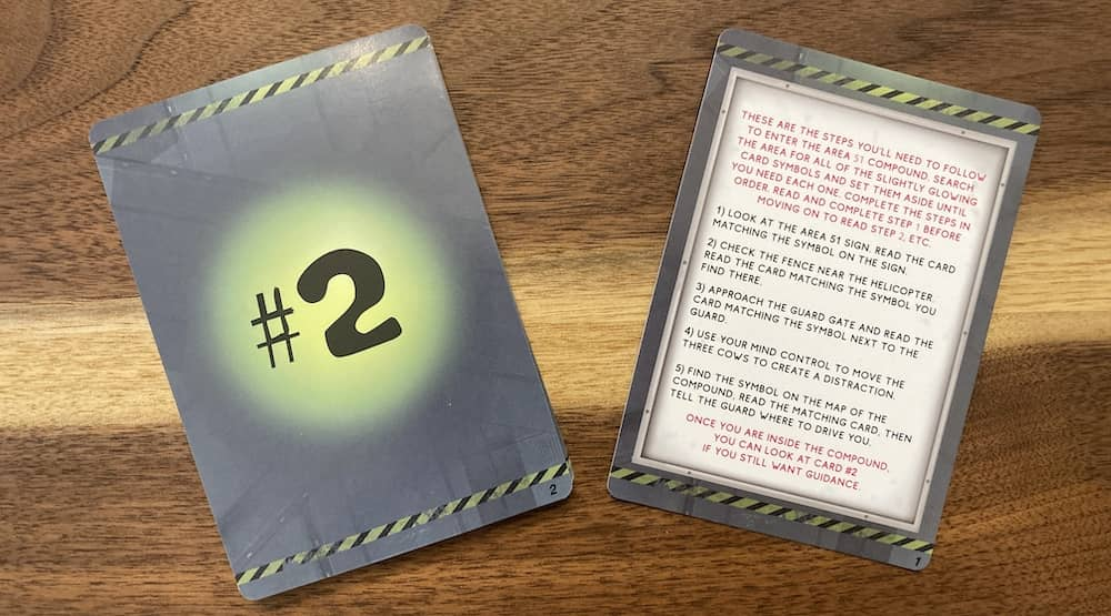 An instruction and story card.
