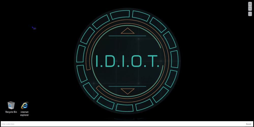 "A computer desktop with a background insignia that reads, ""I.D.I.O.T."""