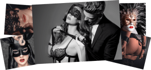 A collage of sexually charged images with BDSM subtext.