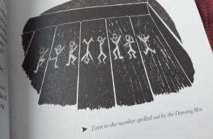 """An illustration of some Dancing Men drawings with the text """"Turn to the number spelled out by the Dancing Men."""""""