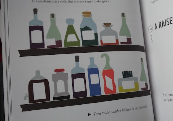 "An illustration of some colorful bottles with the text ""Turn to the number hidden in the chemicals."""