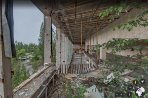 A photo in Google Street view of the ruins of Chernobyl.