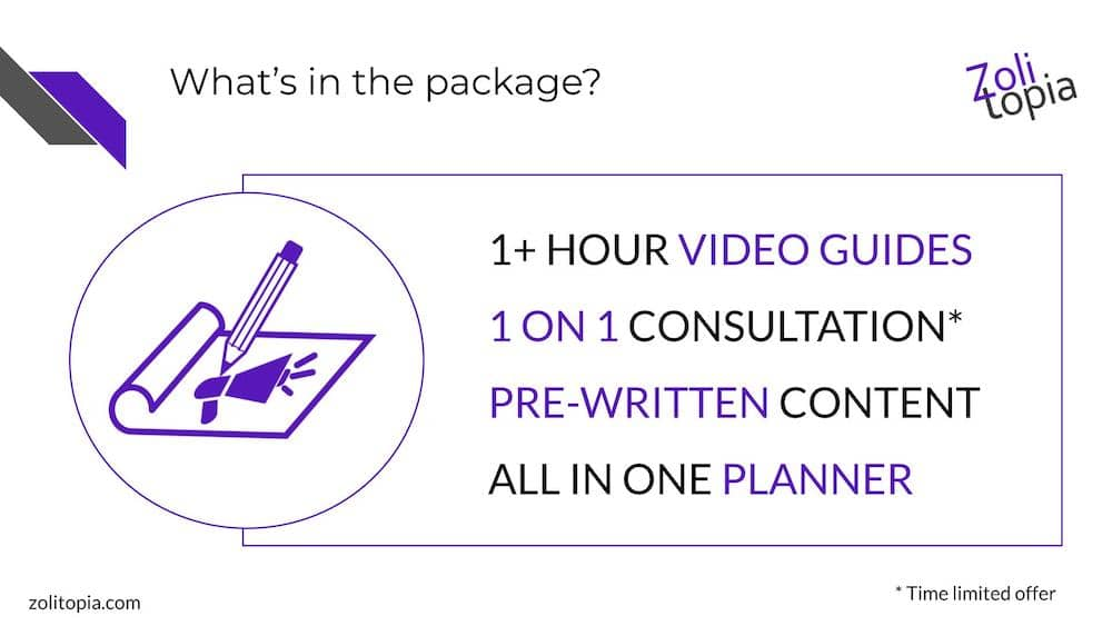 "Slide: ""What's in the package? 1+ hour video guides, 1 on 1 consultation (limited time offer), pre-written content, all in one planner."""