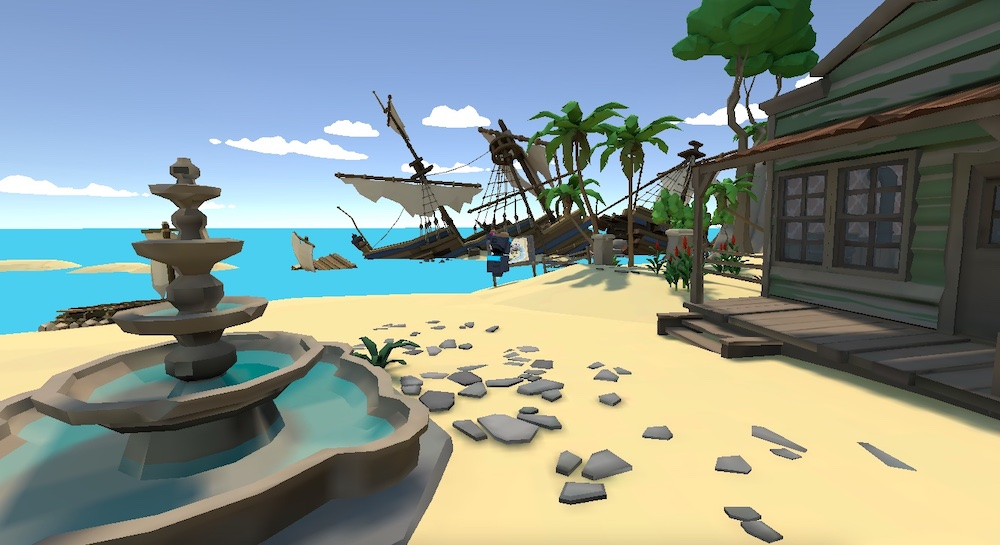 The game's open world on a beach with a shipwreck.
