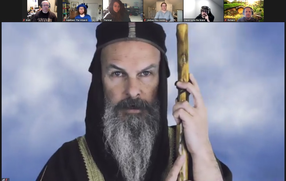 A wizard on zoom.