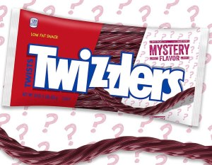 Rendering of Twizzlers Twists Mystery Flavor packaging, and product surrounded by question marks.