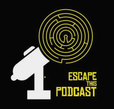 escape this podcast logo, microphone with a puzzle