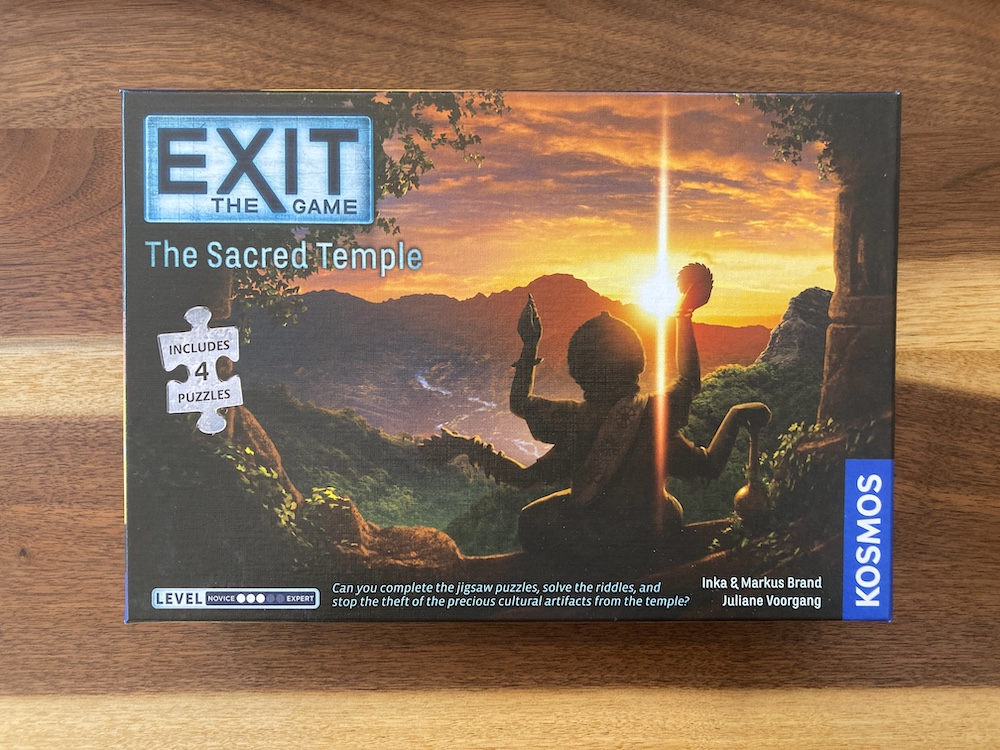 Exit The Game: Sacred Temple box art depicts a south east asian landscape.