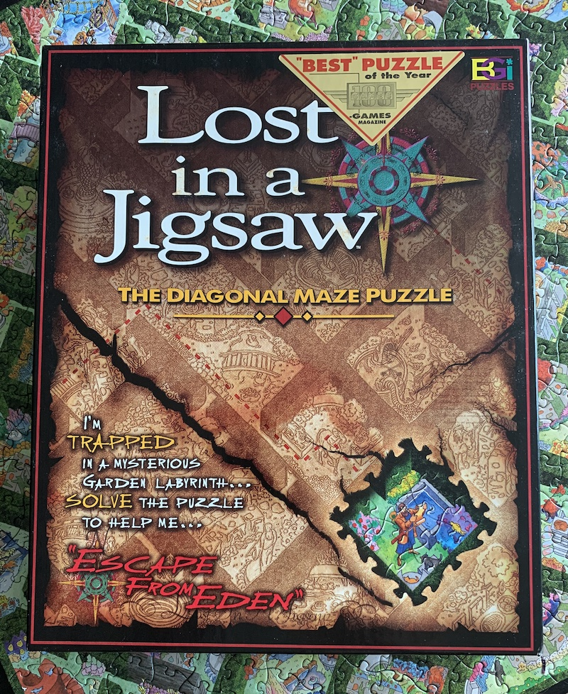 Cover art for Lost in a Jigsaw set on top of the assembled puzzle.