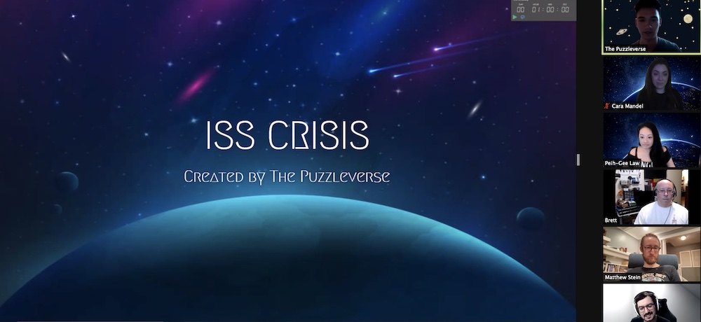 ISS CRISIS Created by the Puzzleverse cover art of the cosmos displayed in Zoom.