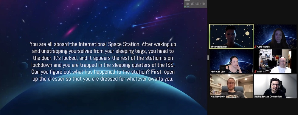 Story card explaining that we work up on the International Space Station and found ourselves locked in our sleeping quarters.