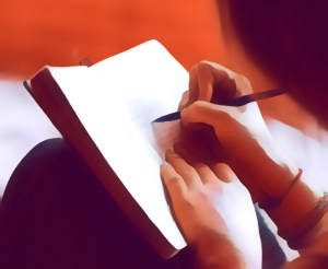 Stylized image of hands holding a journal and pen writing.