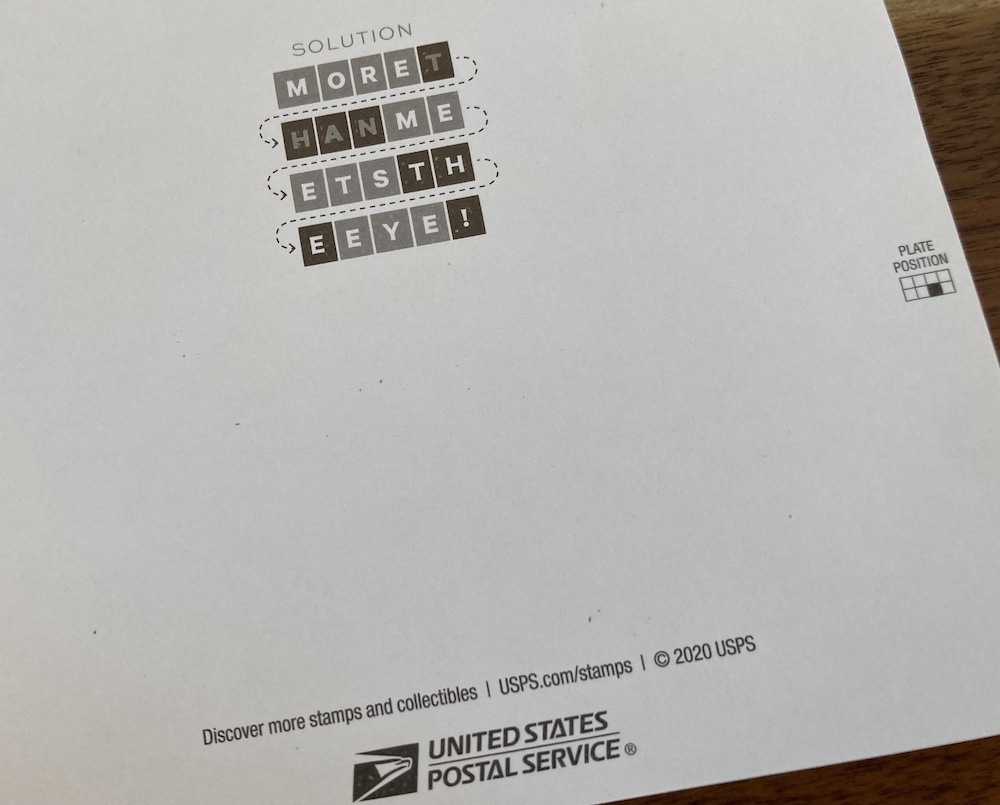 Back of the stamp book displays how to interpret the solution.