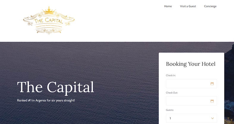 A website for booking a room at the Capital Hotel in Argenia.