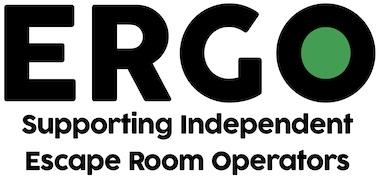 "ERGO logo reads, ""ERGO Supporting independent Escape Room Operators"""