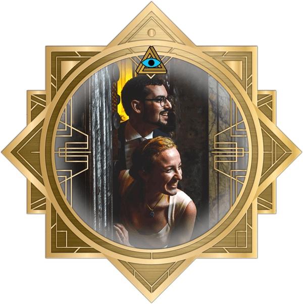 Lisa & David in the art deco RECON frame.