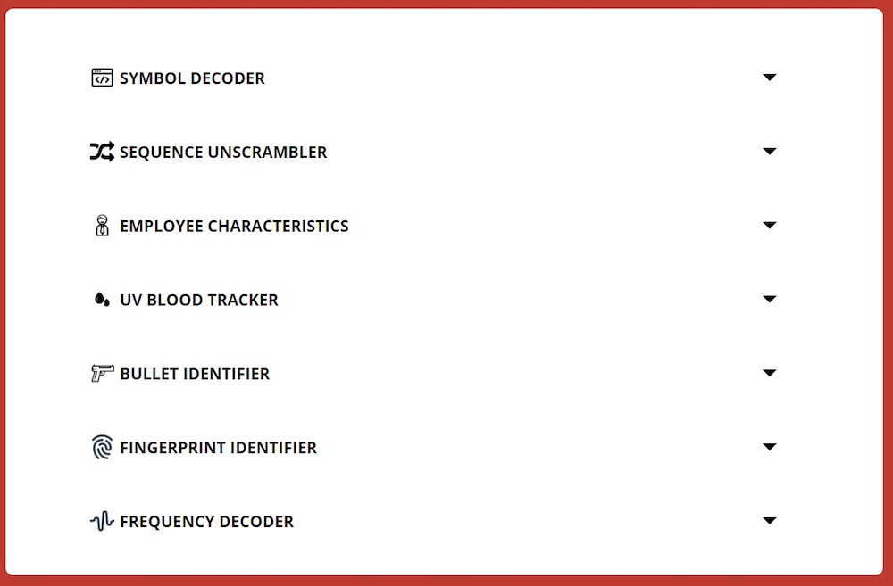 A menu evidence to examine, including fingerprint identifier, frequency decoder, and UV blood tracker.