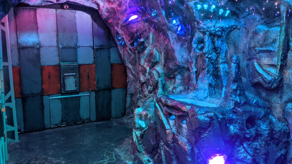 An imposing base set within an ice cave.