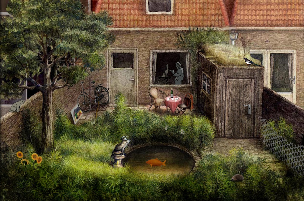 Beautiful illustration of a backyard behind a house, a koi lives in a pond, a magpie sits atop a shed.