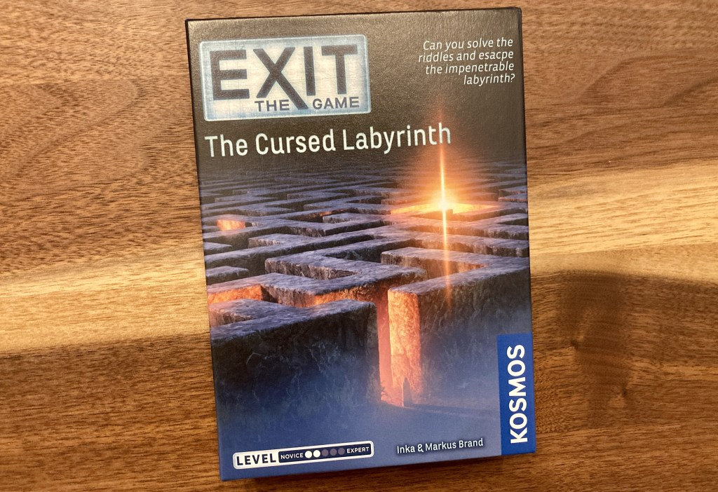 Exit The Game, The Cursed Labyrinth box art with a stone maze structure on the cover.