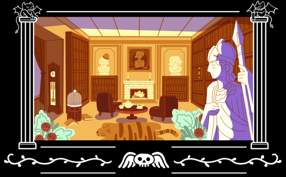 Illustration of a grand study with large statues and an animal pelt rug.